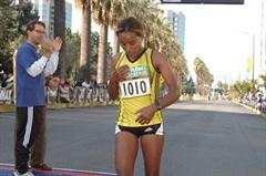 Belainesh Gebre of Ethiopia after her victory in San Jose (organisers)