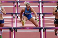 (L-R) Eliska Klucinova of Czech Republic, Natallia Dobrynska of Ukraine and Sarah Cowley of New Zealand compete in the Women's Heptathlon 100m Hurdles Heats during day  of the Olympic Games  (Getty Images)