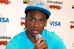 Yohan Blake speaks with the press in New York (Victah Sailer)