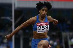 Yamile Aldama of Sudan on her way to winning the bronze medal in the women's Triple Jump final (Getty Images)