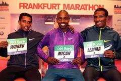 (l-r) Bazu Worku, Micha Kogo and Sisay Lemma ahead of the 2015 Frankfurt Marathon (Victah Sailer / organisers)