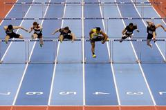 Omo Osaghae edges ahead of Sergey Shubenkov in the 60m Hurdles (Getty Images)