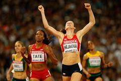 Zuzana Hejnova wins the 400m hurdles at the IAAF World Championships, Beijing 2015 (Getty Images)