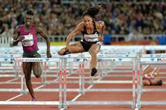Queen Harrison winning the 100m hurdles at the 2014 IAAF Diamond League meeting in Stiockholm (H&A Sjogren)