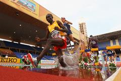Jairus Birech on his way to victory in the 3000m steeplechase at the IAAF Continental Cup, Marrakech 2014 (Getty Images)