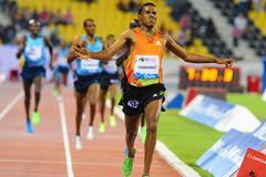 Hagos Gebrhiwet wins the 3000m at the 2013 Doha Diamond League (Errol Anderson)