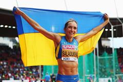 Olha Saladukha after winning the triple jump at the 2014 European Athletics Championships (Getty Images)
