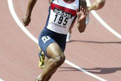 Jamahl Alert of GBR in the 200m heats (Getty Images)