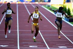 Barbara Leoncio of Brazil wins the 200m final (Getty Images)