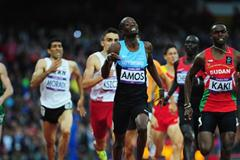Abubaker Kaki of Sudan and Nijel Amos of Botswana lead the pack in the Men's 800m Semifinals on Day 11 of the London 2012 Olympic Games at Olympic Stadium on August 7, 2012 (Getty Images)