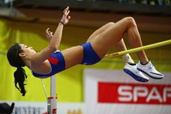 Katarina Johnson-Thompson in the pentathlon high jump at the European Indoor Championships (Getty Images)