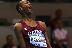 High jump winner Mutaz Essa Barshim at the 2014 IAAF World Indoor Championships in Sopot (Getty Images)