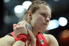 Christina Schwanitz pulls out a winning throw on her final attempt to take the European indoor Shot title (Getty Images)