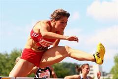 Carolin Nytra en route to her 12.78 career best in Ulm (Getty Images)