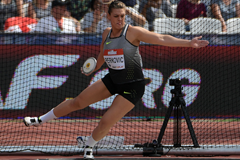 Sandra Perkovic, winner of the discus at the IAAF Diamond League meeting in London (Kirby Lee)