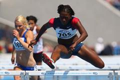 Teona Rodgers of USA in the Women's 100m Hurdles heats (Getty Images)
