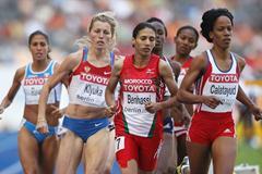 (L-R) Svetlana Klyuka of Russia, Hasna Benhassi of Morocco and Zulia Calatayud of Cuba in the women's 800m heats (Getty Images)
