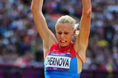 Tatyana Chernova of Russia competes in the Women's Heptathlon Long Jump on Day 8 of the London 2012 Olympic Games at Olympic Stadium on August 4, 2012 (Getty Images)