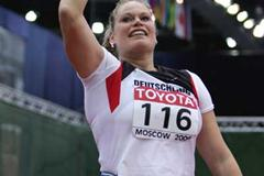 Nadine Kleinert of Germany celebrates her silver medal in the Shot Put final (Getty Images)