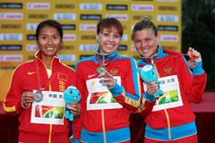 The women's 20km medallists at the 2014 IAAF World Race Walking Cup  (Getty Images)