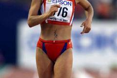Olimpiada Ivanova walking to the 20km World crown in Edmonton (Getty Images)