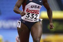 Lauryn Williams of USA during the women's 60m first round heats (Getty Images)