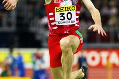 Dmitriy Valyukevich of Slovakia, seen jumping at 2004 World Indoors when still a Belarussian (Getty Images)