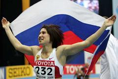 Tatyana Lebedeva of Russia celebrates her victory in the women's Triple Jump final (Getty Images)