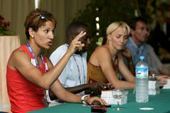 Nezha Bidouane of Morocco addresses the audience during the Marrakech Class of Future Champions (Getty Images)