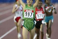 Siham Hilali of Morocco wins the women's 3000m final (Getty Images)