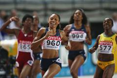 All smiles Allyson Felix wins the women's 200m (Getty Images)