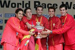 Team Spain celebrates their win in the 20km (Getty Images)