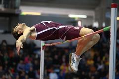 Silvano Chesani setting Italian indoor record of 2.33m at the 2013 Italian indoor championships (Giancarlo Colombo)