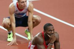 Michael Tinsley and Dai Greene after the 400m Hurdles final at the London 2012 Olympics (Getty Images)