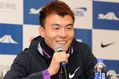 Li Jinzhe at the press conference ahead of the IAAF Diamond League meeting in Shanghai (Errol Anderson)