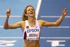 Yelena Soboleva is in disbelief after breaking the world indoor 1500m record (Getty Images)