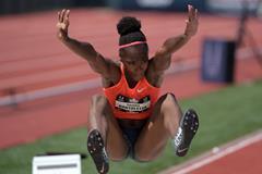 Tianna Bartoletta at the 2015 US Championships (Kirby Lee)