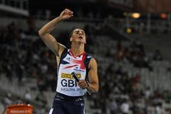 Adam Gemili of Great Britain crosses the finish line in last position on the Men's 4x100 metres Relay Final on the day five of the 14th IAAF World Junior Championships in Barcelona on 14 July 2012 (Getty Images)
