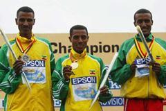 2004 World XC short race - (l to r) Gebremariam (silver), Bekele (gold), Maregu Zewdie (bronze) (Getty Images)