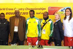 (l to r - Chebet, President Diack, Merga with ETH media attache, Kastor, Kowalska) -  Athletes and IAAF President Lamine Diack at the IAAF Press Conference on the eve of the 40th edition of the IAAF World Cross Country Championships in Bydgoszcz, Poland, Saturday 23 March (Getty Images)