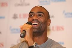 Tyson Gay at the press conference for the 2013 Lausanne Diamond League (Gladys Chai)