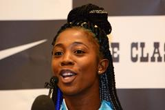 Shelly-Ann Fraser-Pryce ahead of the 2016 IAAF Diamond League meeting in Eugene (Kirby Lee)