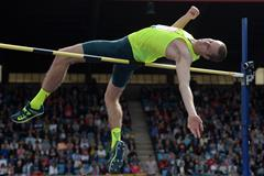 Derek Drouin in the high jump at the IAAF Diamond League meeting in Birmingham (Getty Images)
