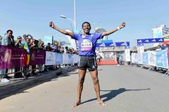 Haile Gebrselassie at the 2015 Great Ethiopian Run (Jiro Mochizuki)