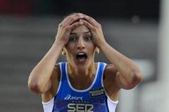 Alessia Trost of Italy discovering her first place the Women's High Jump Final on day six of the 14th IAAF World Junior Championships in Barcelona on 15 July 2012 (Getty Images)