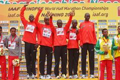The Kenyan men's squad celebrate their team triumph in Nanning (Getty Images)