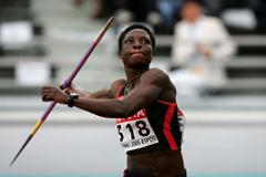 Margaret Simpson in action in the Heptathlon's Javelin Throw (Getty Images)