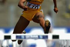 Shermaine Williams of Jamaica in action in the 100m Hurdles (Getty Images)