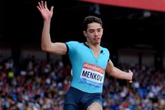 Aleksandr Menkov wins the Long Jump at the Birmingham Diamond League (Mark Shearman)