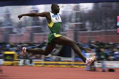 Jadel Gregorio of Brazil on his way to the silver medal in the men's Triple Jump final (Getty Images)